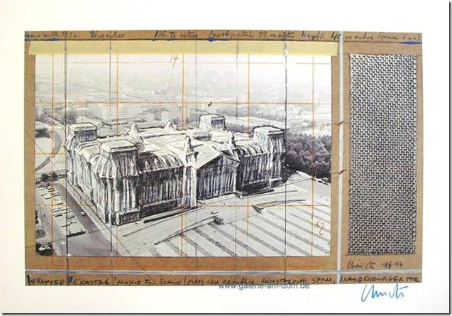 Christo_dessin-préparatoire_Reichstag Berlin Allemagne
