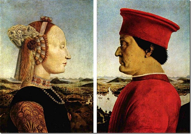 Piero_della_Francesca_ritratto di battista sforza e frederico de montefeltro_1472