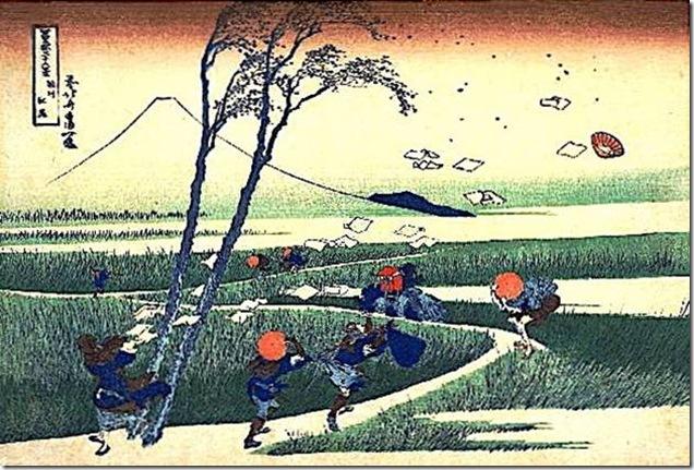 Un soudain coup de vent, d'Hokusaї