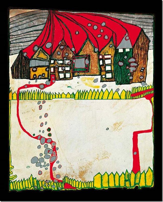 Hundertwasser-Maison dans la neige sous la pluie d'argent avec chemin rouge