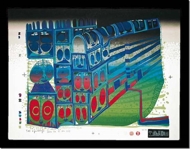 Hundertwasser, Train de nuit, Sérigraphie
