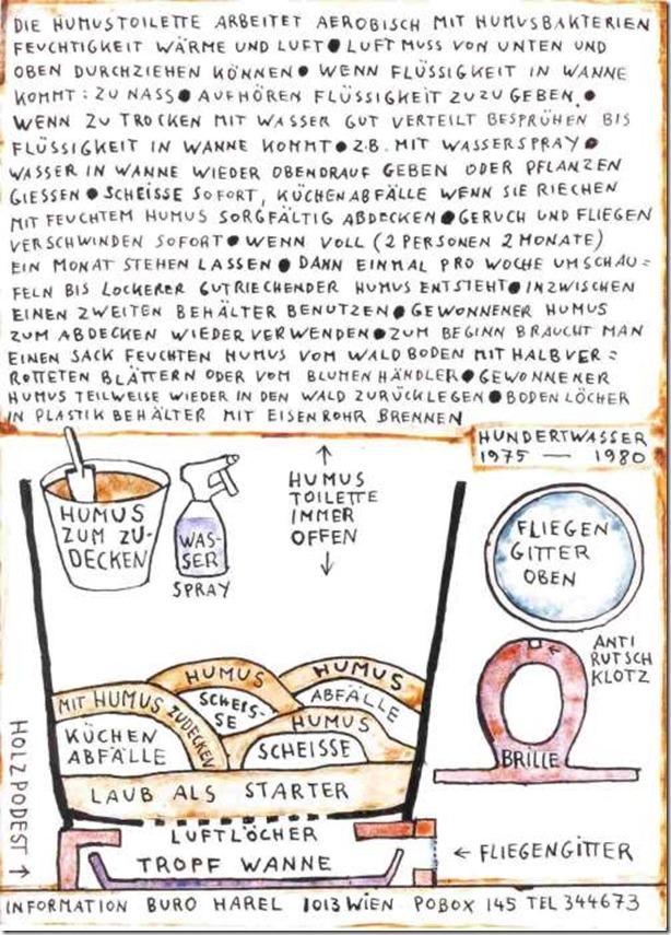 toilettes sèches par Hundertwasser