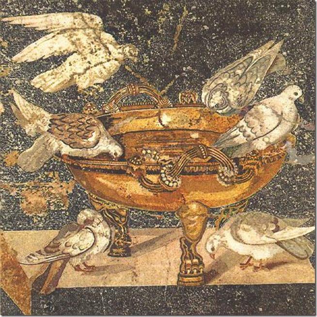 Mosaïque pompéï vase aux colombes.