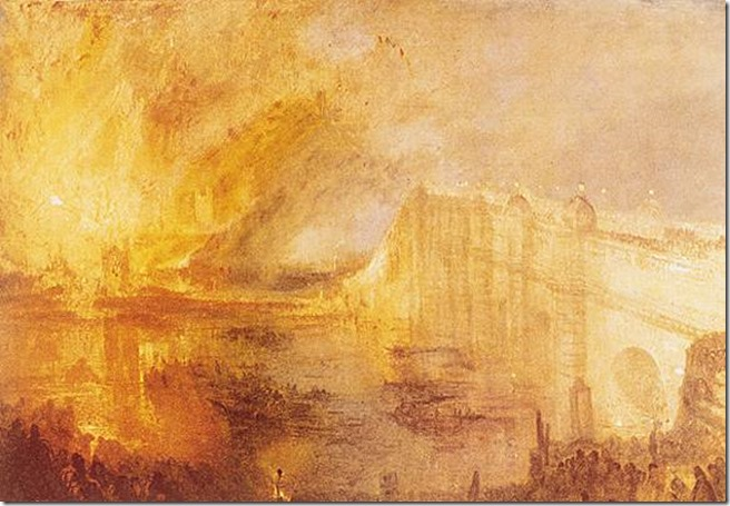 William Turner, l'Incendie du Parlement, 1835